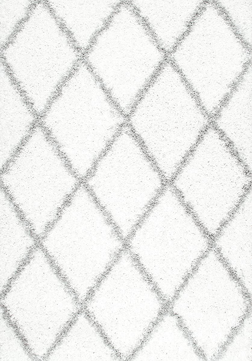 nuLOOM Cozy Soft and Plush Diamond Trellis Shag Area Rug, 8 x 10