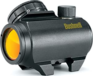 1. Bushnell Trophy TRS-25 Red Dot Sight Riflescope, 1 x 25mm (tilted front lens)