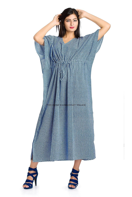 ef20ece43b Indian Caftan Dress Kaftan Hippie Boho Cotton Maxi Gown Beach Cover Women's  at Amazon Women's Clothing store: