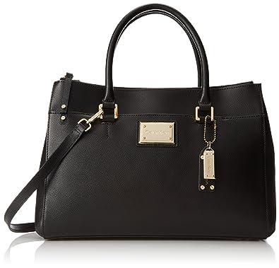 Calvin Klein Mercury Satchel Top Handle Bag, Black/Gold, One Size ...