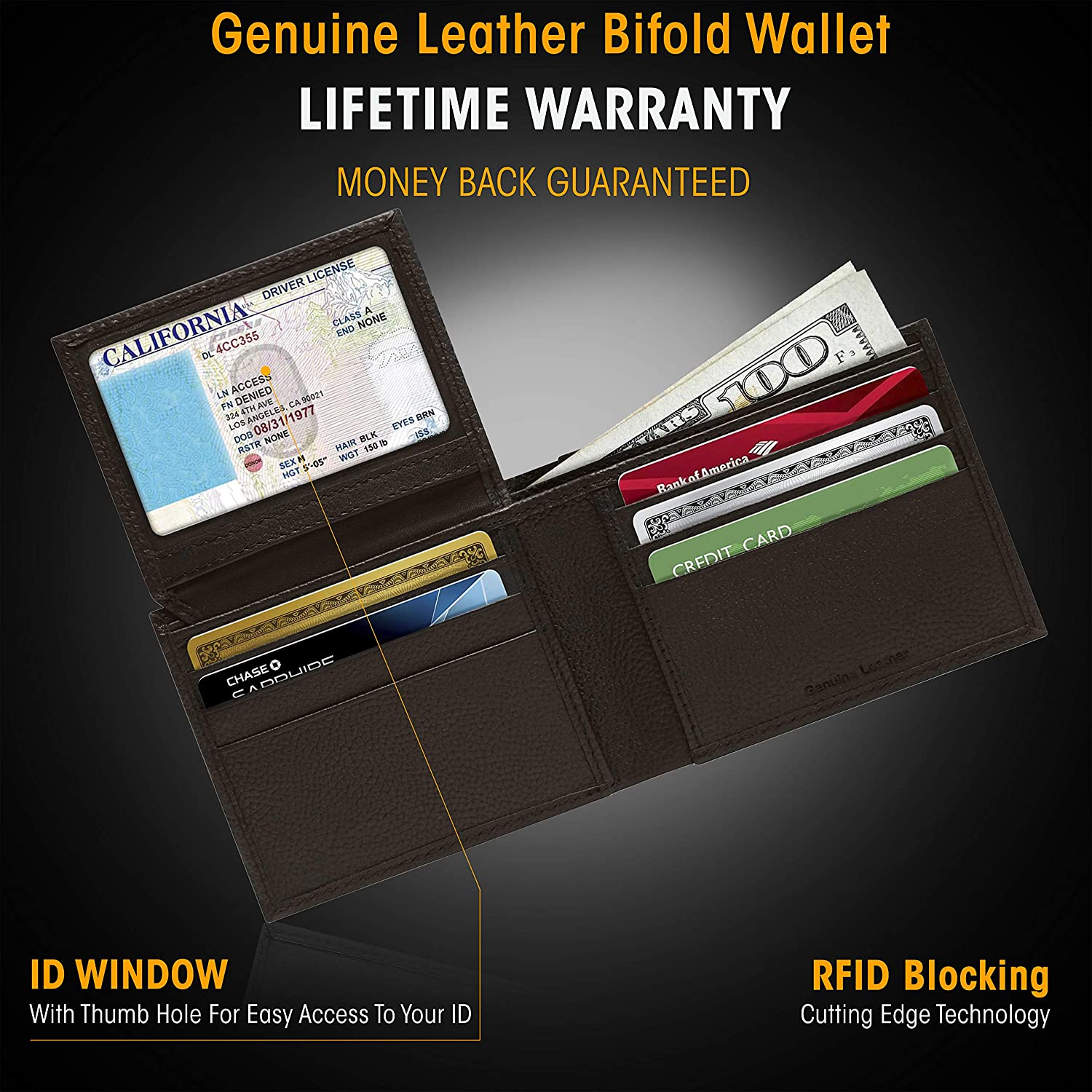 Front Pocket Leather Small Mens Wallet With ID Window Gifts For Men Slim Bifold Wallets For Men RFID