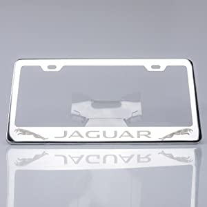 KA Depot One Polish Mirror Stainless Steel License Plate Frame Holder Front Or Rear Bracket Laser Engrave Fit Jaguar with Logo Steel Screw Cap
