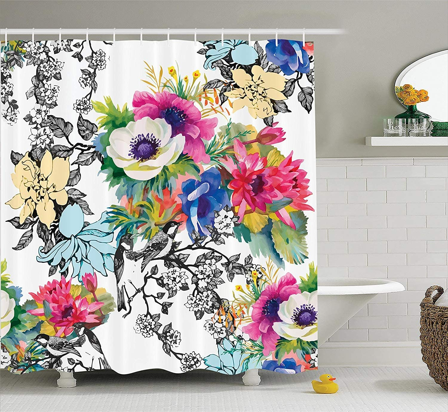"Ambesonne Flower Shower Curtain, Vivid Colorful Garden Print Blossoming Wildflowers Birds Leaves Branches, Cloth Fabric Bathroom Decor Set with Hooks, 70"" Long, Rainbow"