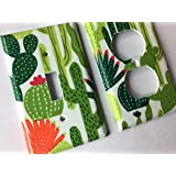 Green Succulent Cactus Light Switch Plate Cover Various Sizes Offered