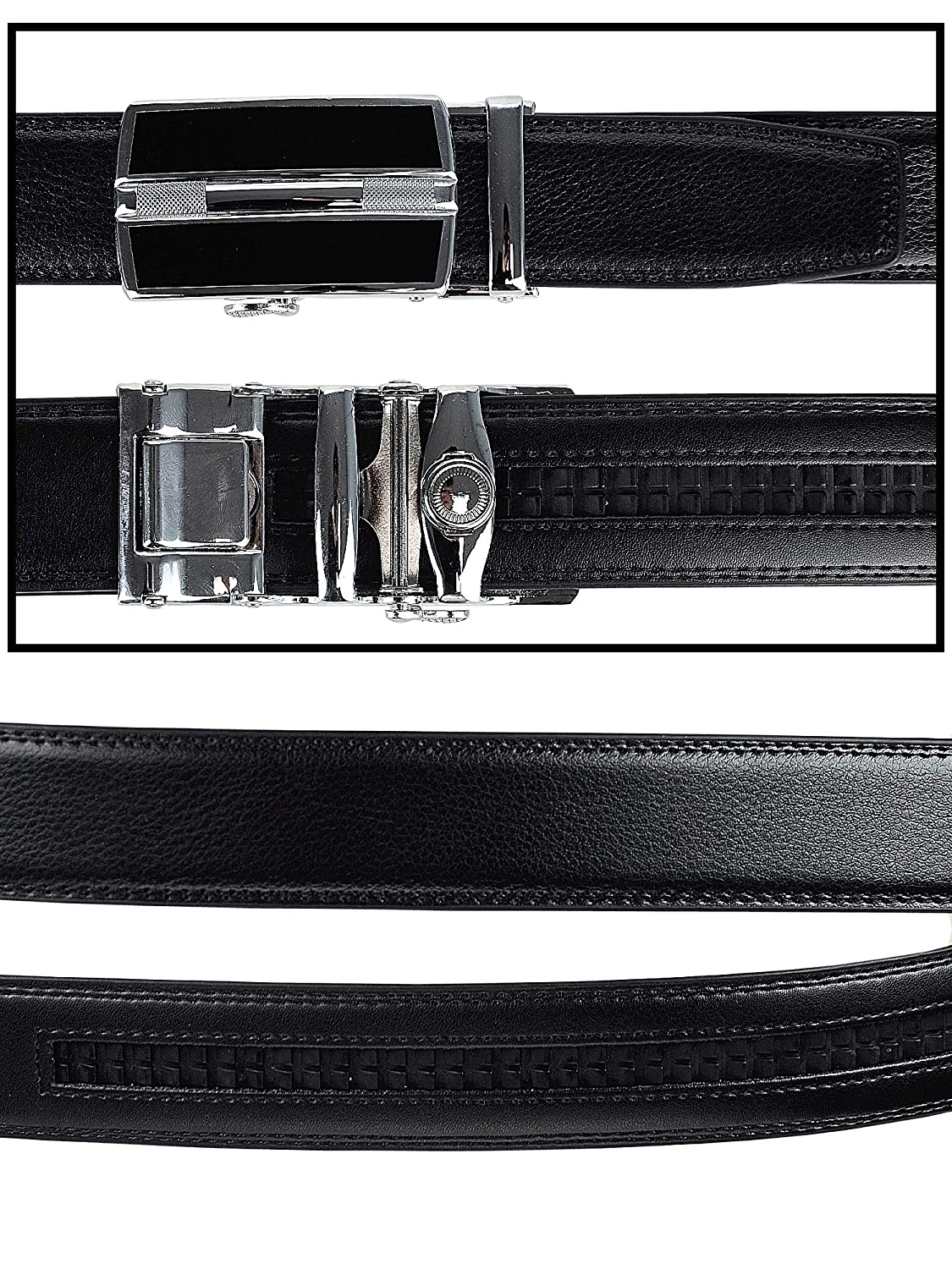 Mens Genuine Leather Ratchet Dress Belt with Automatic Buckle