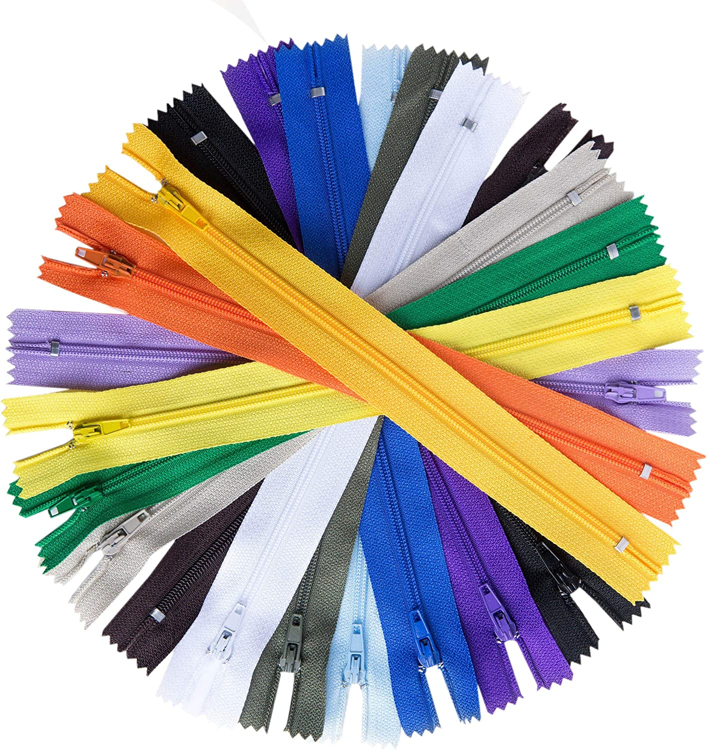 100pcs 14 Inch Nylon Coil Zippers Sewing Zippers for Sewing Crafts (Assorted Colors) 912ElFwyRTL