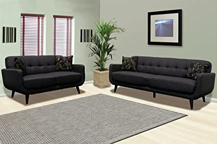 Attirant European Design 2pcs Sofa Set Modern Dark Charcoal Sofa Love Seat Classic  Living Room Furniture