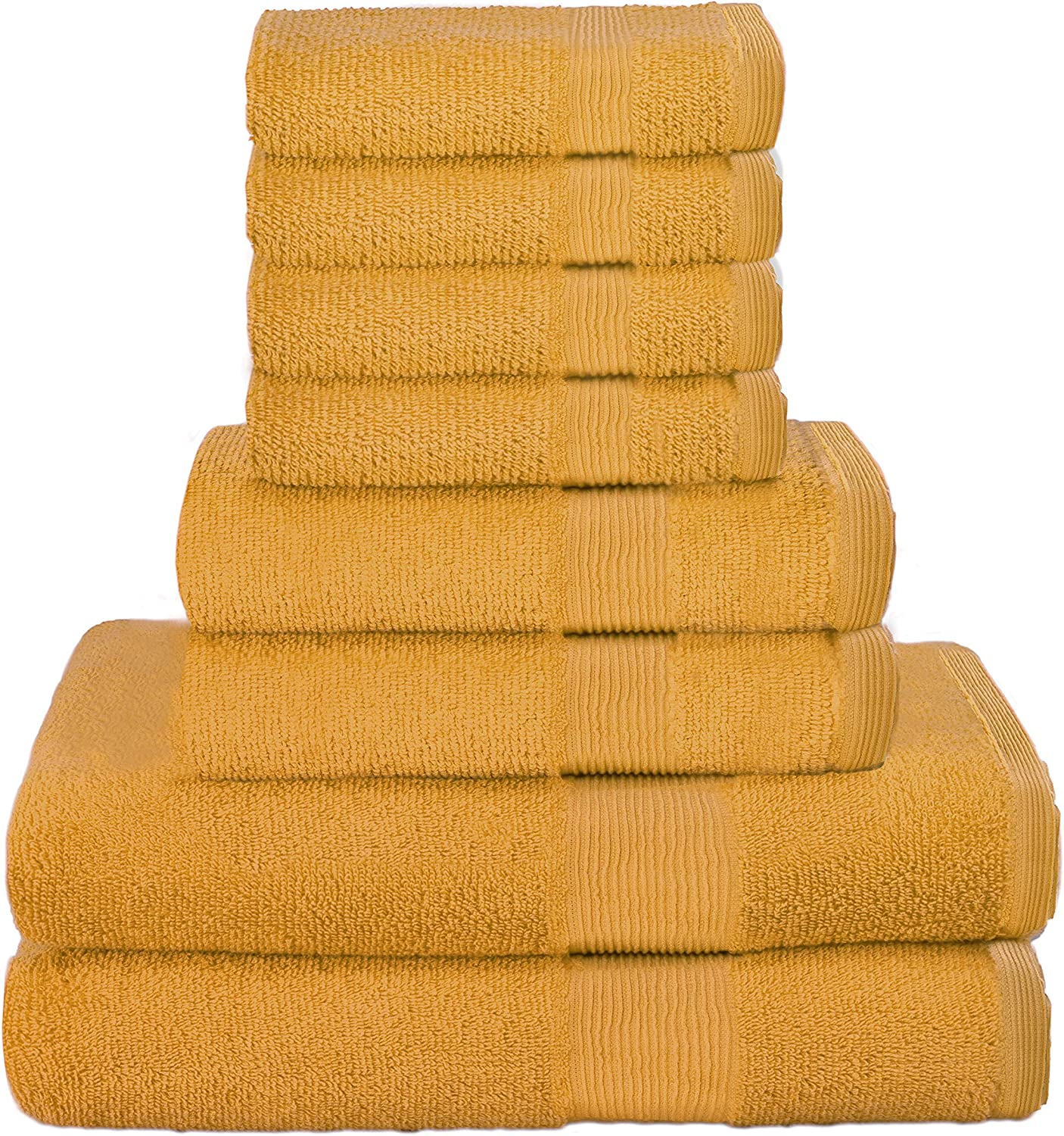 Elvana Home 8 Piece Towel Set 100% Ring Spun Cotton, 2 Bath Towels 27x54, 2 Hand Towels 16x28 and 4 Washcloths 13x13 - Ultra Soft Highly Absorbent Machine Washable Hotel Spa Quality - Yellow