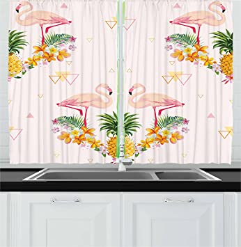 Merveilleux Ambesonne Kitchen Decor Collection, Tropical Floral Flamingo Pineapple  Hawaiian Flowers Bananas Triangles Retro Style,