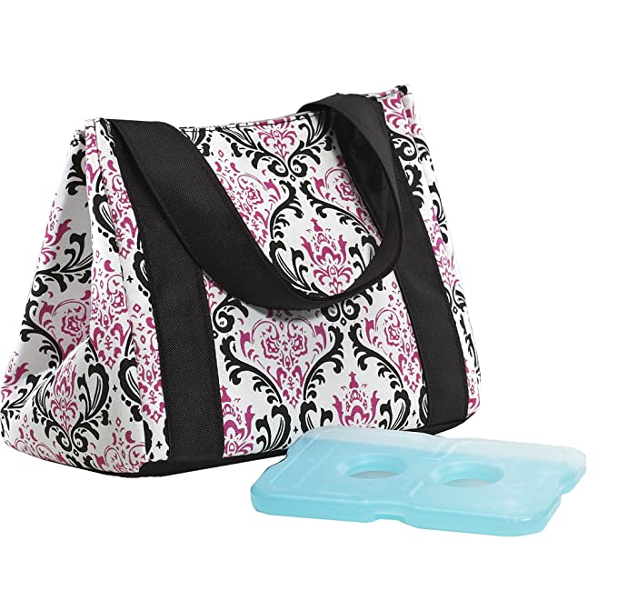 Fit & Fresh Women's Venice Insulated Lunch Bag with Ice Pack, Stylish Adult Lunch Bag for Work or School, Pink & Black Chandelier