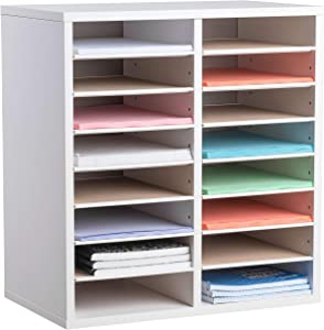 AdirOffice Wood Adjustable Literature Organizer - Removable Shelves - Heavy Duty Stackable Literature Organizer - Great for Office, Classrooms and Mail Rooms (16 Compartment, White)