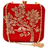 sugarcrush Women's Velvet Hand Embroidered Box Clutch, Maroon