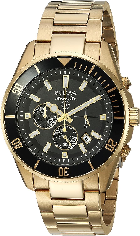 Bulova Men s 43mm Marine Star Black Dial Goldtone Chronograph Watch