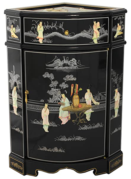 Oriental Furniture Small Corner Cabinet & Amazon.com: Oriental Furniture Small Corner Cabinet: Kitchen u0026 Dining