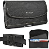 Nylon Belt Holster for iPhone 12, 12 Pro Max, 11, 11 Pro Max, Xs Max, XR, 8 Plus with Rugged Case. Phone Pouch with Chestnut