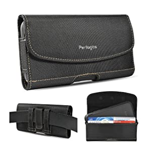 Nylon Belt Holster For iPhone 11, 11 Pro Max, Xs Max, XR, 8 Plus With Rugged Case. Ballistic Nylon With Chestnut Stitching. Strong Magnetic Closure and Reinforced Belt Loops. (Fits Rugged Case)