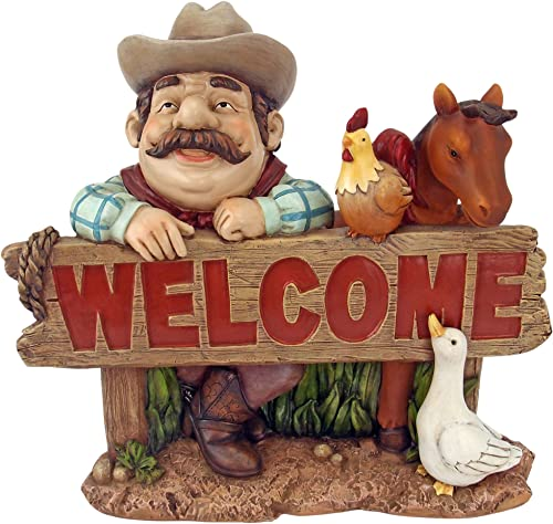 Design Toscano HF6122 Cowboy Cody Western Welcome Statue,Full Color