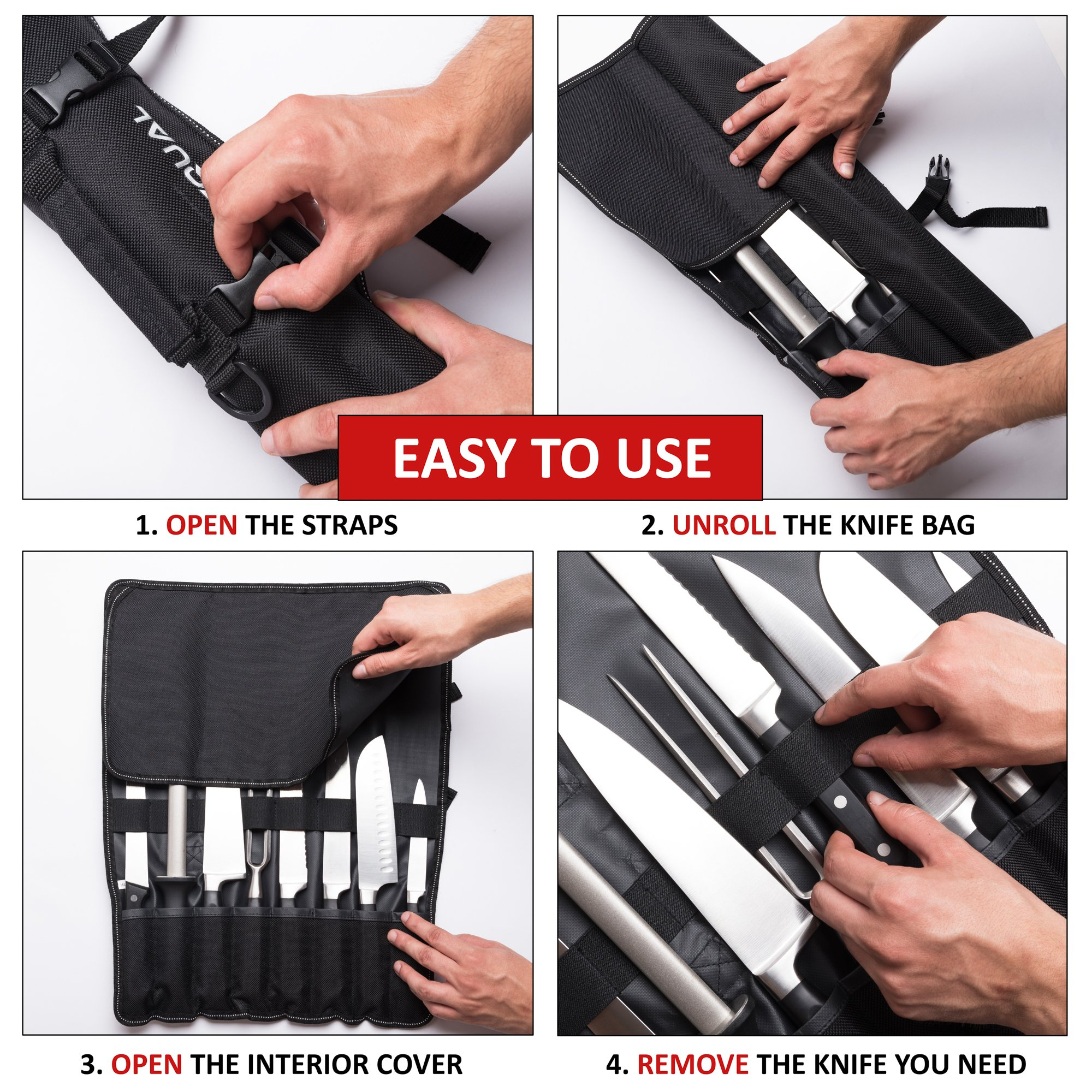 Chef Knife Bag (8 slots) – Durable and Waterproof Culinary Roll Case Utensil With Shoulder Strap and Holder – Knives Organizer For Chefs and Students + eBook Bonus + Extra-Warranty by 1stqual by 1stqual (Image #6)