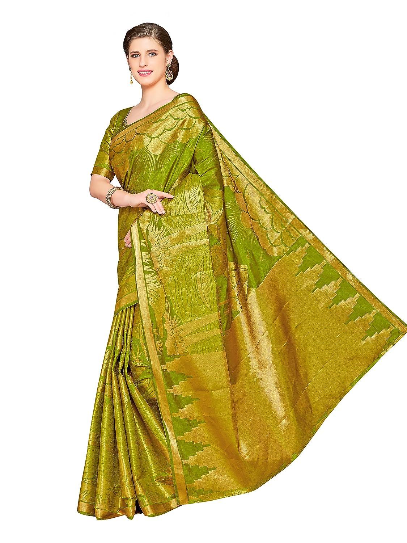 Green Color Kanchipuram Art Silk Saree With Un-Stiched Blouse
