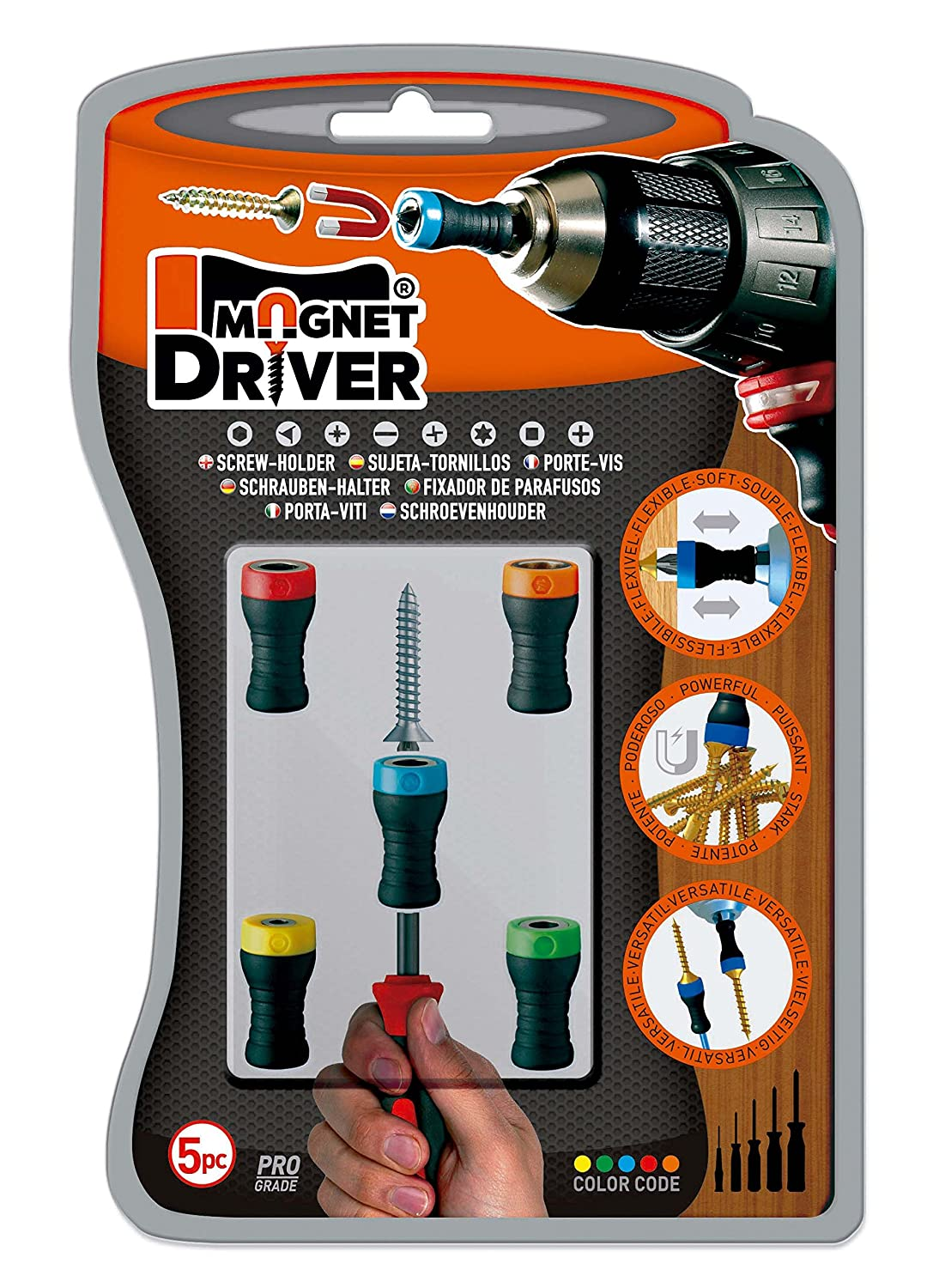 SET 17 MAGNET DRIVER® Allows Countersinking Magnetic Screwdriver Attachment Set 17 Magnet Driver Screw-Holder by Micaton No Wobbling or Falling Screws Fits Screwdrivers and Power Bits