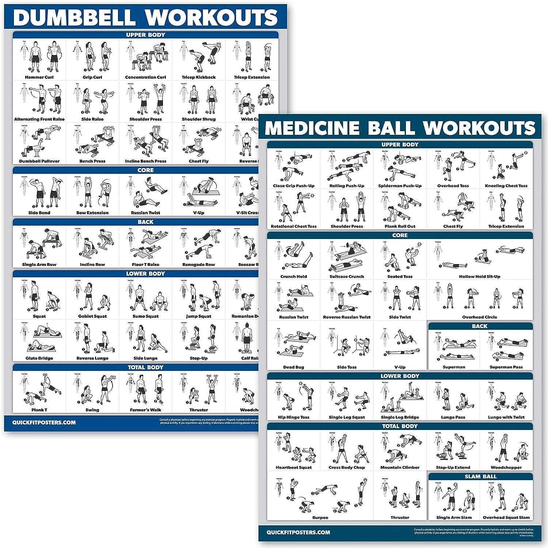 Set mit 2 laminierten Diagrammen Hanteltraining und Medizinball /Übungsposter Hanteln und Medizinball /Übungsroutine QuickFit 2 St/ück