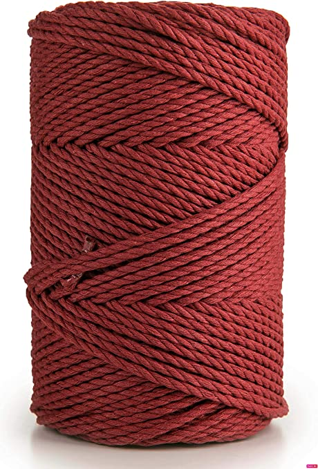 HitTopss Macrame Cord 3MM Natural Cotton Macrame String Twine 100M Kitchen Bakers String for DIY Crafts Tying Meat Making Sausage and Packaging Decoration Brown