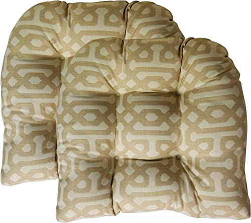 RSH D cor Indoor Outdoor Sunbrella 2 pk Wicker Patio Chair Seat Cushion Pillow Water Resistant Pad – Choose Color Fretwork Flax Beige Pattern