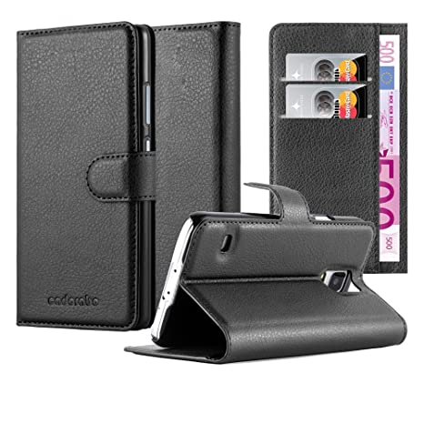 Cadorabo Carcasa Compatible con Samsung Galaxy S5/S5 Neo móvil en Phantom Negro Funda con Tarjetero Y Función Atril Carcasa Funda