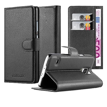 Cadorabo Hülle für Samsung Galaxy S5 / S5 NEO - Hülle in Phantom SCHWARZ – Handyhülle mit Kartenfach und Standfunktion - Case