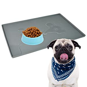 "Pet Food Mat Waterproof Dog Mat 24""x16"" Large – 0.5"" inch Raised Edge, Dog Cat Silicone Feeding Placemat Water Bowl Tray for Floors FDA Approved by Mofason"