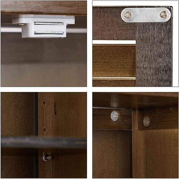 HxLxP: 66 x 62 x 20 cm Mobiletto in Bamb/ù Relaxdays LAMELL Mobile Pensile Bagno Bianco Armadietto con Portasciugamani