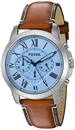 c3e16cf0c7b6 Amazon.com  Fossil Men s FS5184 Grant Chronograph Light Brown ...