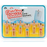 NPW-USA The Original Drinking Buddies Cocktail/Wine Glass Markers, Classic