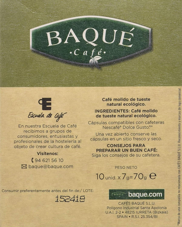 Cafés Baqué - 10 Capsulas Compatibles Dolce Gusto. Café Organico ...