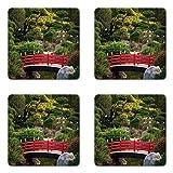 Lunarable Japanese Coaster Set of Four, Bridge Over