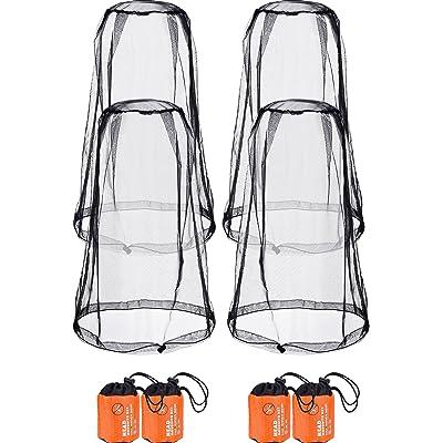 Hestya 4 Piezas de Mosquitera de Cabeza Malla Red de Proteger Cabeza para Prevención de Insectos Mosquito de Senderismo Acampar Escalada al Aire Libre (Talla Regular, Negro)
