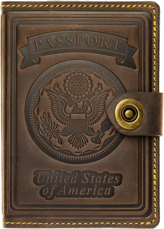 | Villini - Leather US Passport Holder Cover RFID Blocking ID Card Wallet - Travel Case (Brown Vintage) | Passport Wallets