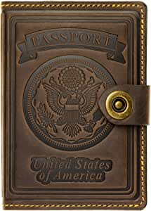 Villini - Leather US Passport Holder Cover RFID Blocking ID Card Wallet - Travel Case (Brown Vintage)