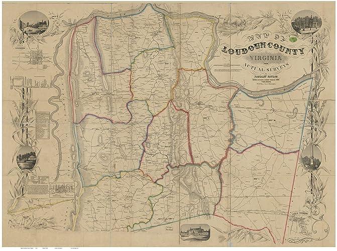 Amazon Com Loudoun County Virginia 1854 Wall Map With Homeowners