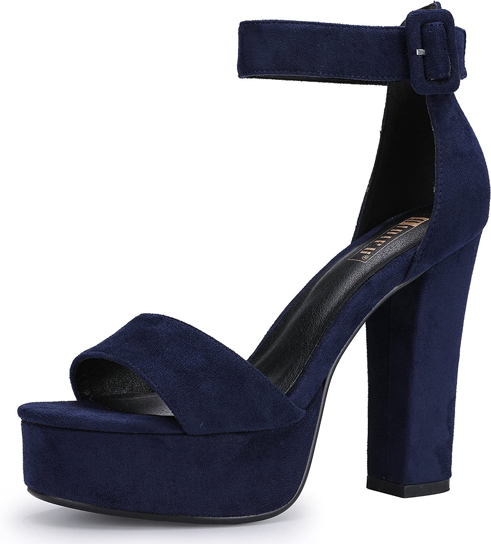 Womens Ladies Fashion Suede Chunky Heel Sparkle Glitter Pumps Slide Sandals Peep Toe Buckle Ankle Strap Dress Slides