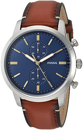 45a9d4602f771 Buy Fossil Townsman 44mm Chronograph Brown Leather Watch and Wallet Box Set  Online at Low Prices in India - Amazon.in