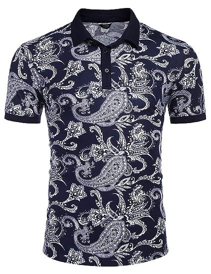 0c5d058bb8 COOFANDY Men's Paisley Polo Shirt Casual Short Sleeve Floral Print Shirt