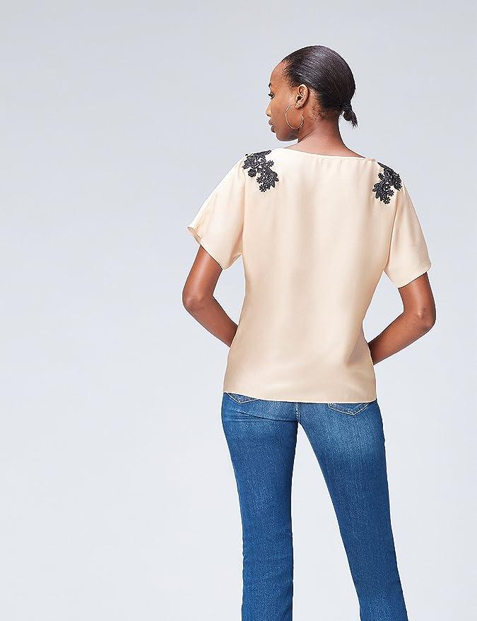 Marca Amazon - find. Blusa con Blonda para Mujer: Amazon.es: Ropa y accesorios