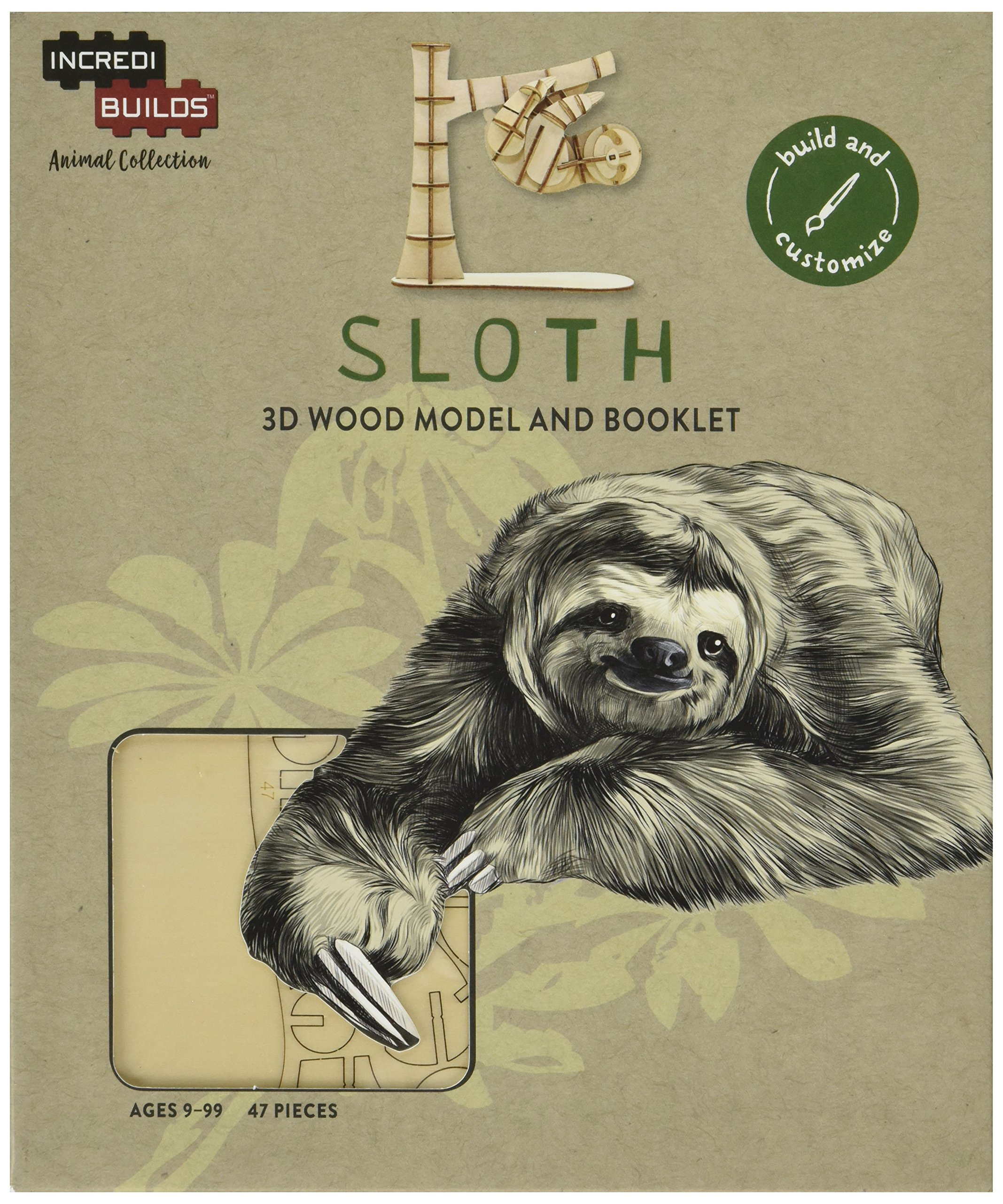 Incredibuilds Animal Collection Sloth 3D Wood Model