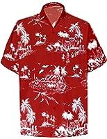 La Leela Casual Hawaiian Shirt for Men Short Sleeve Front-Pocket Surf Aloha Sun Blue