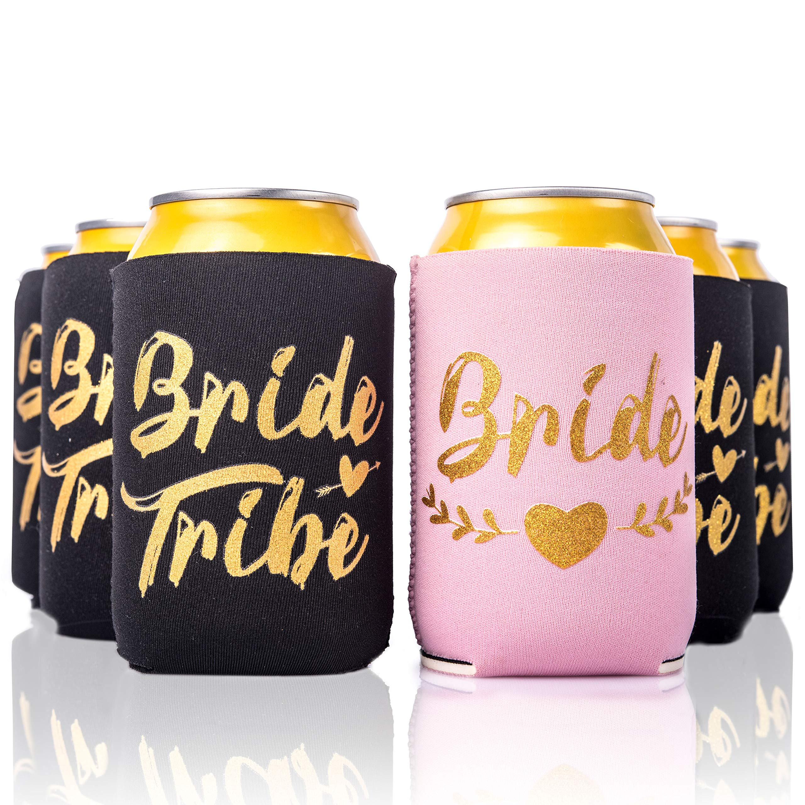Bachelorette Party 11pc Drink Coozies - BRIDE TRIBE & BRIDE - 10 Black & 1 Pink Blushing Bride Color Bachelorette Party Coozie, Bridal Showers, Party Favor Beverage Insulators by Almost Bride by Almost Bride
