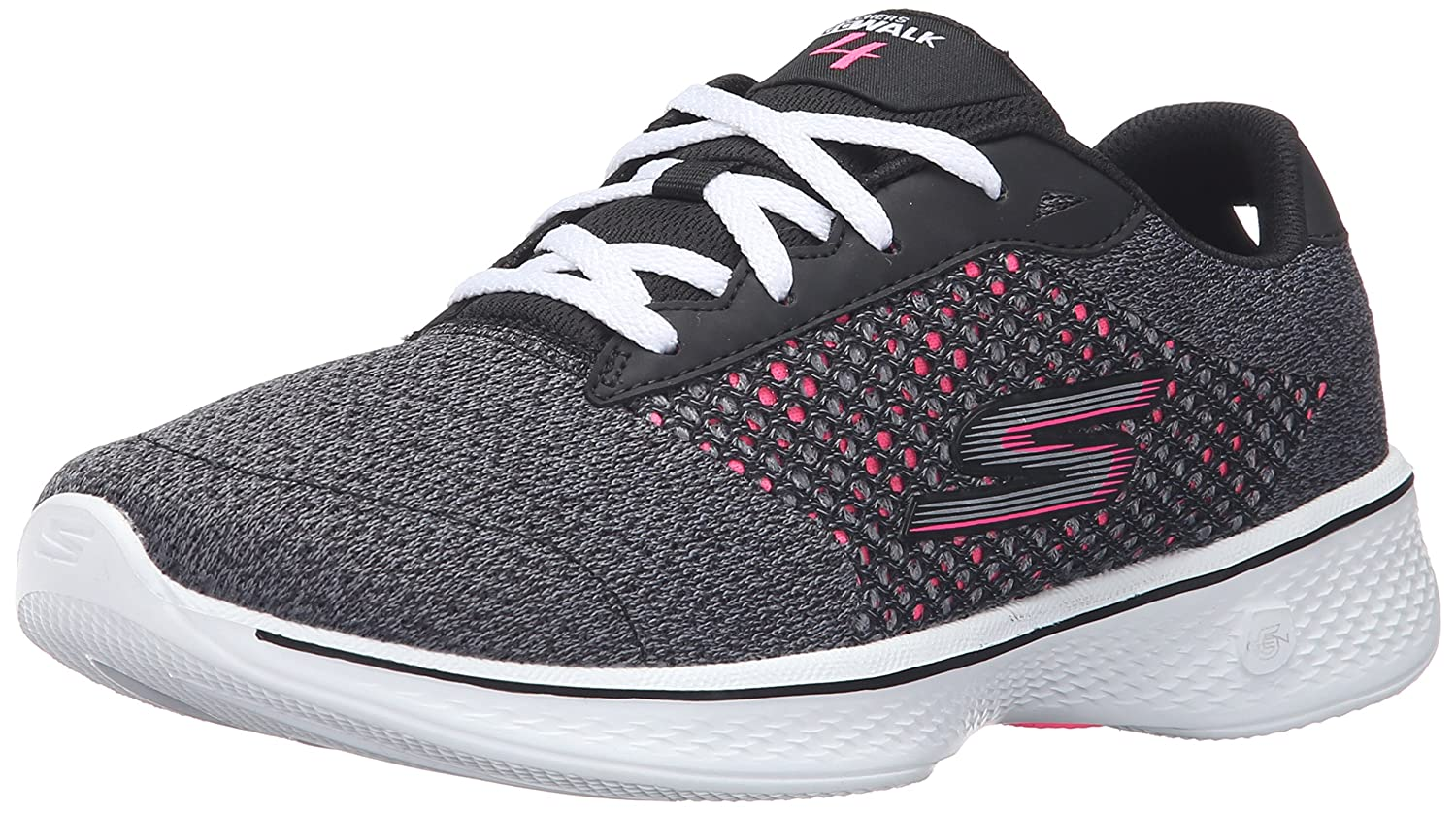 Skechers Performance Women's Go Walk 4 Exceed Lace-up Sneaker B01AH08UAE 6.5 B(M) US|Black/Hot Pink