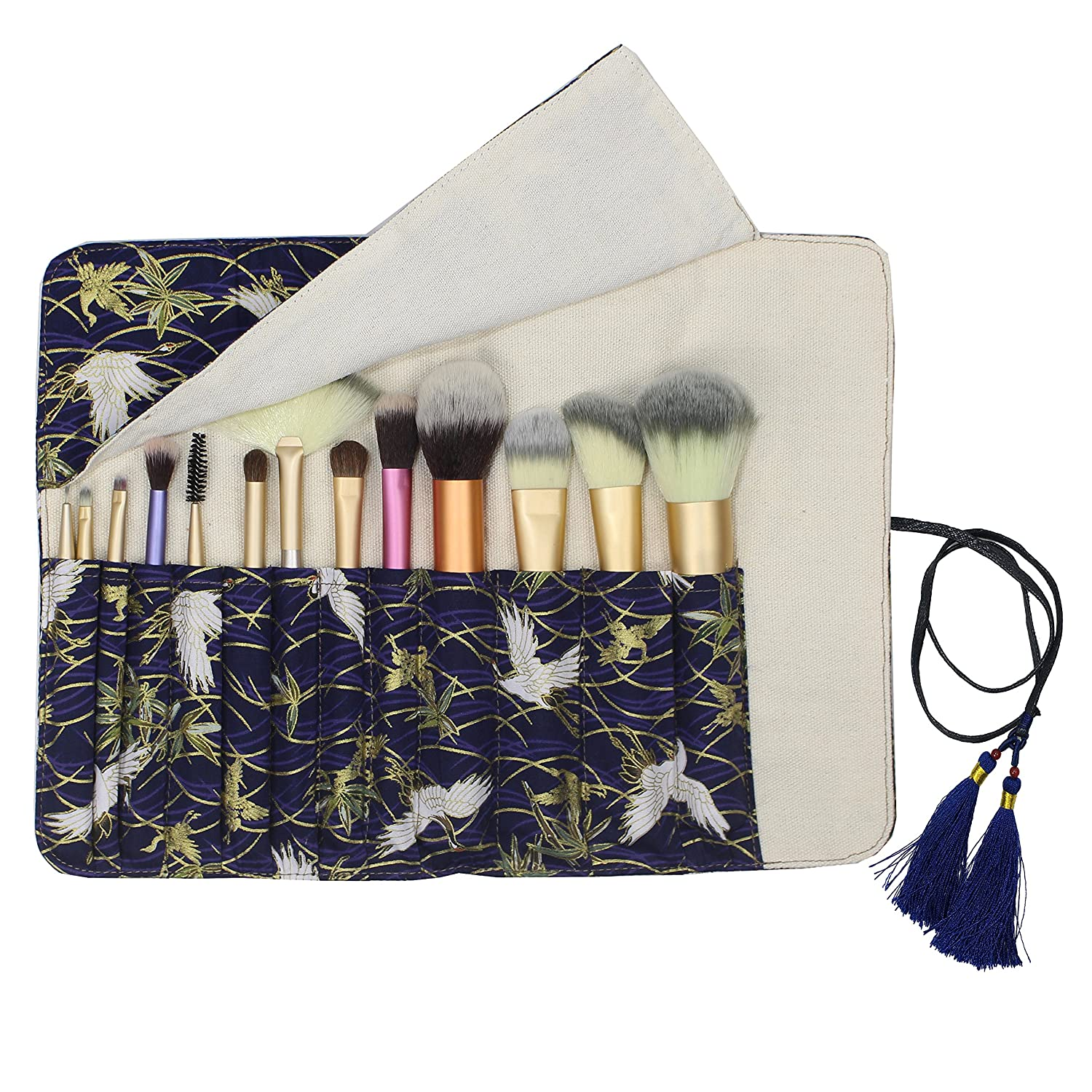 12 Pockets Makeup Brushes Rolling Case Pouch Holder Cosmetic Bag Organizer Case with Belt Strap, NO BRUSHES (Gilded Crane)