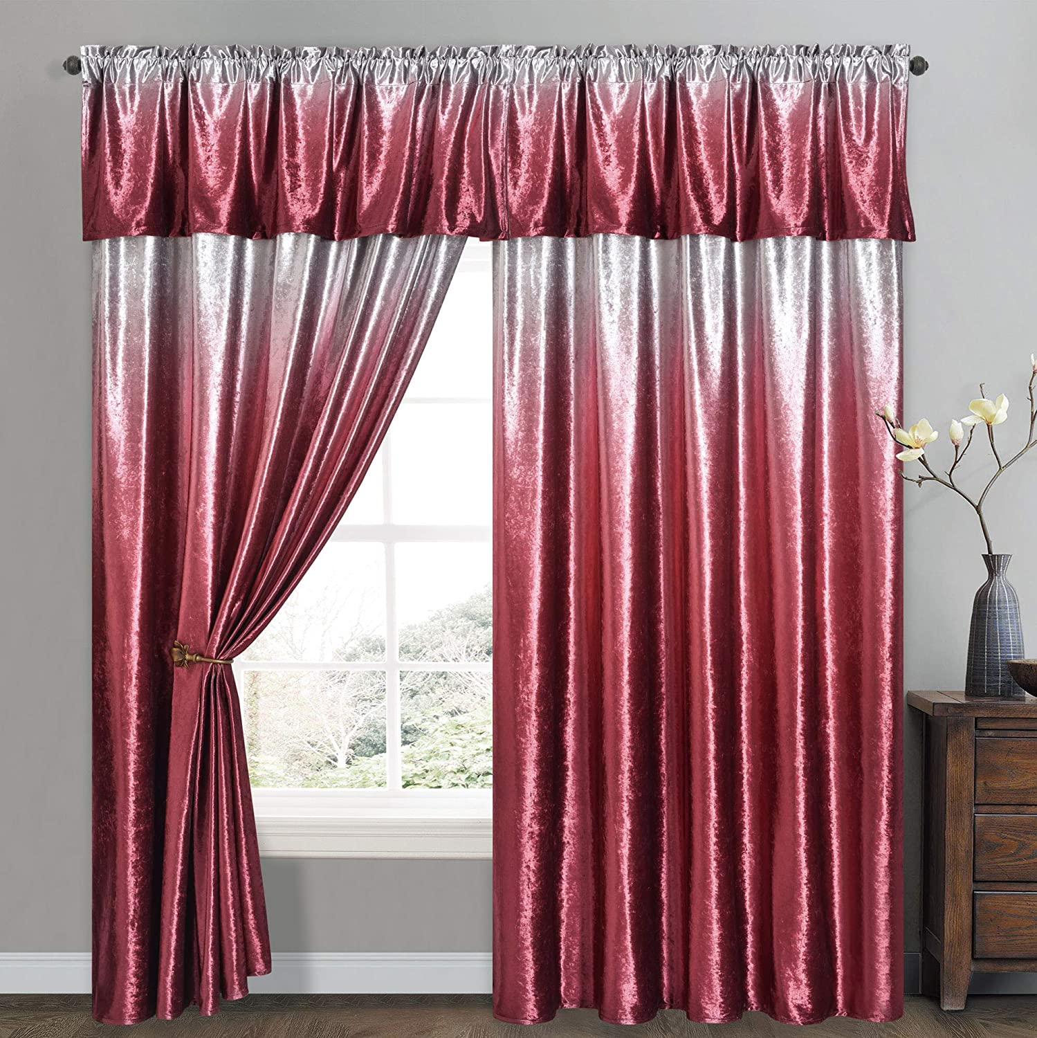 Vibrant Victor - Ice Crushed Velvet Curtain with Attached Straight Valance. Siver Grey Ground with Ombre Color Print. 2pcs Set. Each pc 57W by 90L inch with 18L inch Valance. (Gradient Wine)