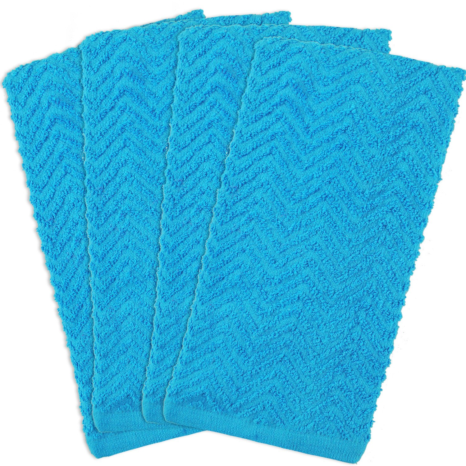 DII 100% Cotton, Everyday Kitchen Basic, Heavy Duty Bar Mop, Drying & Cleaning, 16 x 28 Zig Zag Weave Dishtowel, Set of 4 Neon Blue